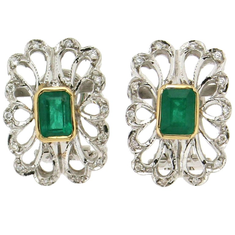 Colombian Emeralds 18 Carat White Gold Clip-On Earrings
