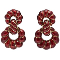 David Webb Gold Red Enamel Ear-Pendants