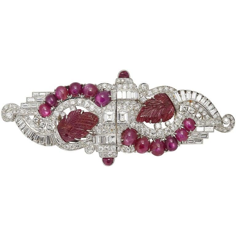 Art Deco Ruby Diamond Double Clips