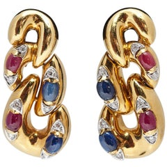 Italian Sapphire Ruby Diamond and Gold Ear Pendants