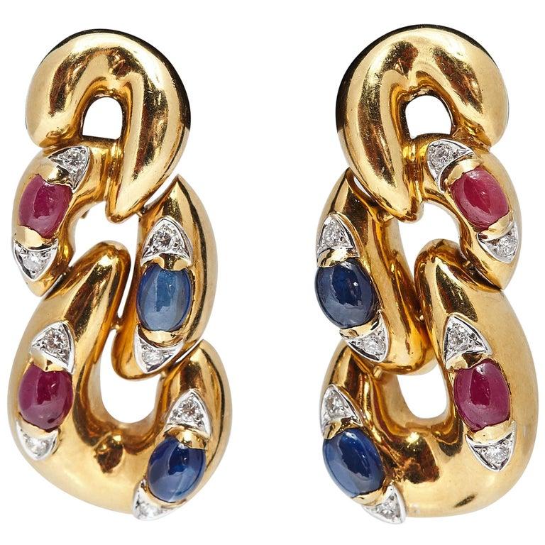 Italian Sapphire Ruby Diamond and Gold Ear Pendants For Sale