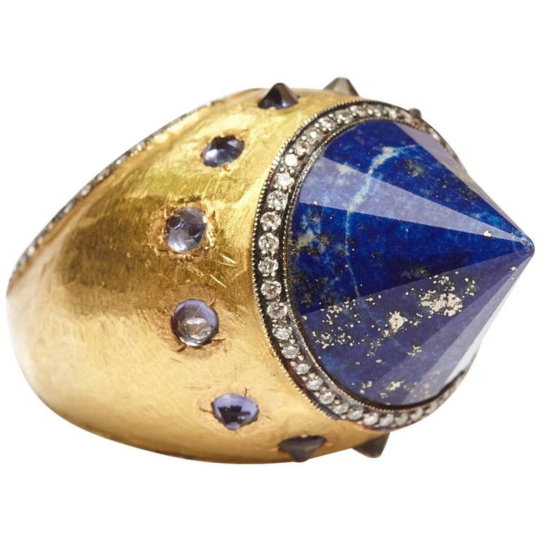 Sodalite Cone Diamond Gold Cocktail Ring For Sale