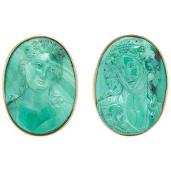 Malachite Cameo Gold Earclips