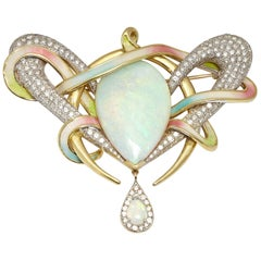 Opal Diamond Enamel Brooch