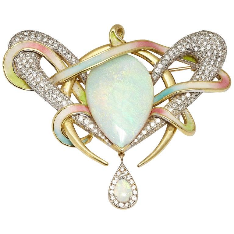 Opal Diamond Enamel Brooch