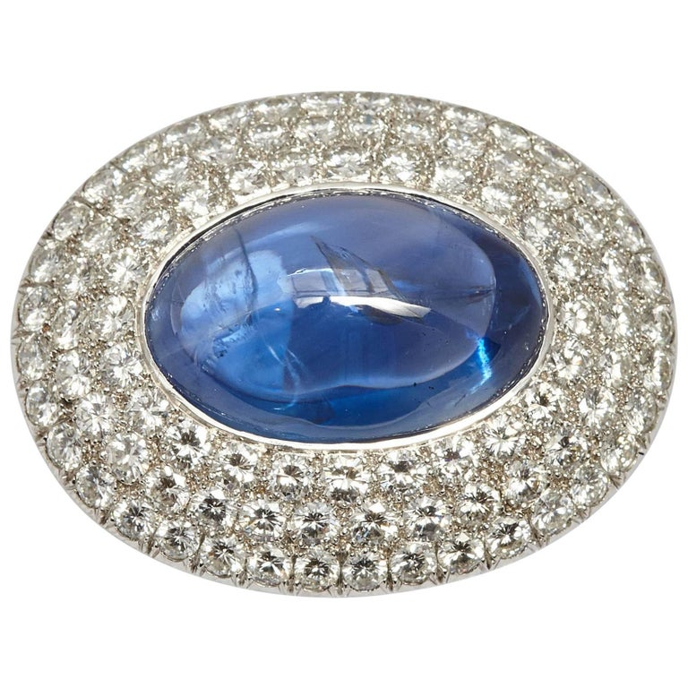 Important Cabochon Sapphire and Diamond Brooch