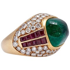 Cabochon Emerald Ruby Diamond Ring