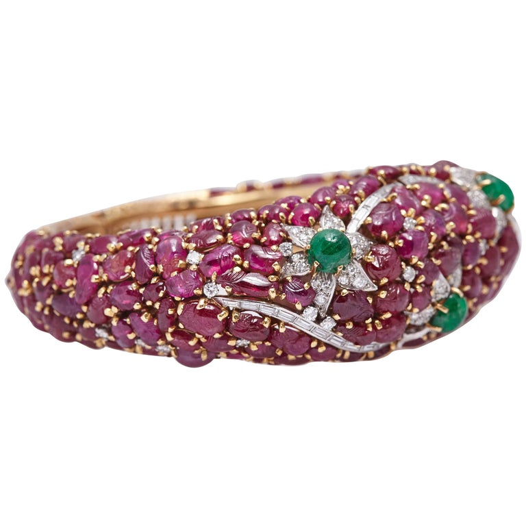 Carved Ruby Emerald and Diamond Cuff Bracelet For Sale