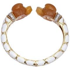 David Webb Cornelian White Enamel Poodle Bracelet