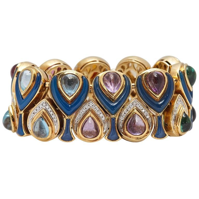 Bulgari Multi-Color Stone Enamel Diamond Gold Bracelet