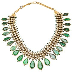 Indian Emerald Enamel Gold Necklace