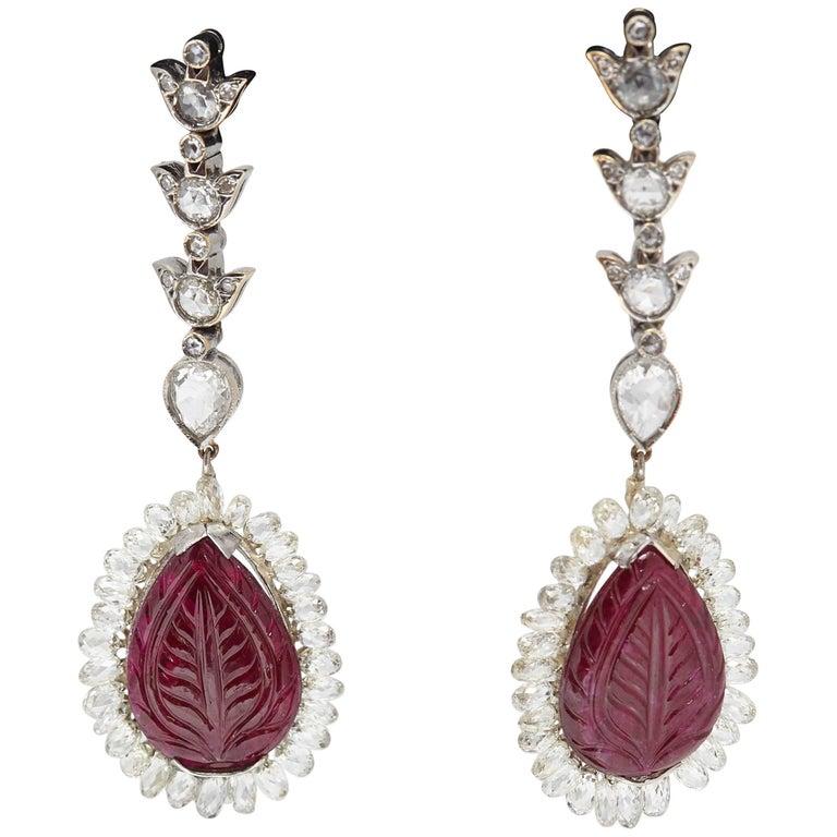 Carved Rubies and Diamond Briolette Ear Pendants