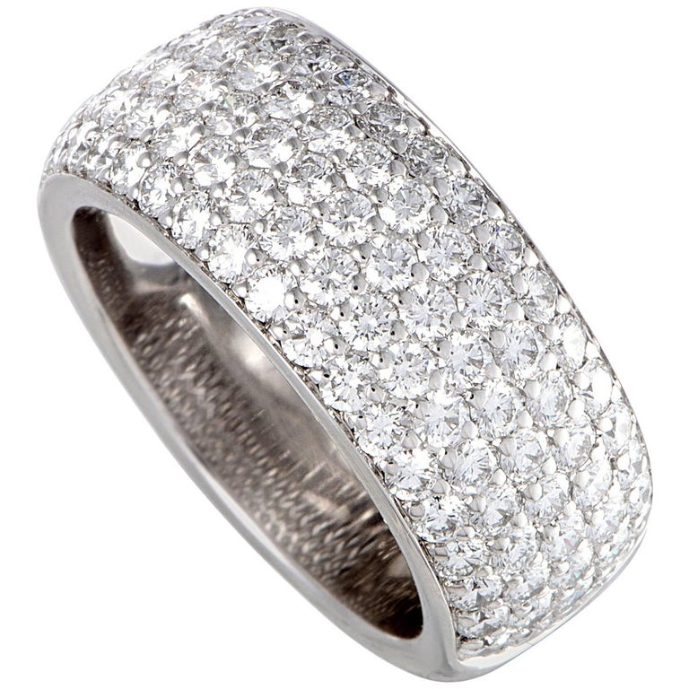 Cartier 2.08 Carat Diamond Pave White Gold Band Ring For Sale