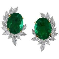 Oval Emerald Diamond Ear Clips