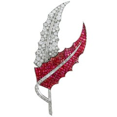 Diamond and Ruby Leaf Brooch