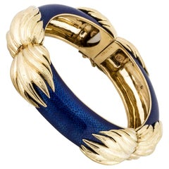 18 Karat Blue Enamel Bangle Bracelet