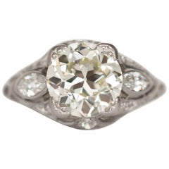 2.10 Carat Diamond Platinum Engagement Ring, 1900s Edwardian