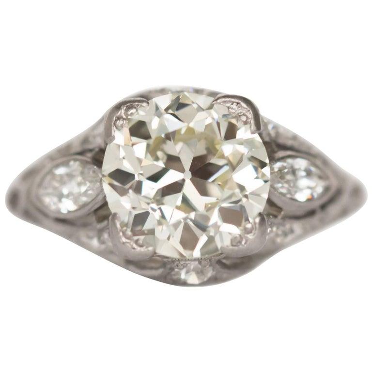 2.10 Carat Diamond Platinum Engagement Ring, 1900s Edwardian For Sale