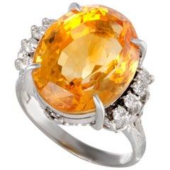 Oval Citrine Diamond Platinum Ring
