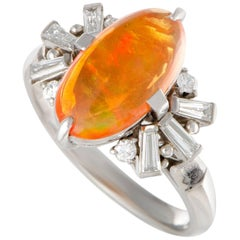 Fire Opal Cabochon Diamond Platinum Ring