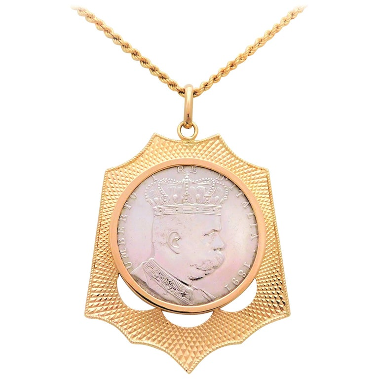 Late victorian 18k coin holder pendant with rare 1891 silver eritrea late victorian 18k coin holder pendant with rare 1891 silver eritrea 1 tallero 5 for sale aloadofball Images