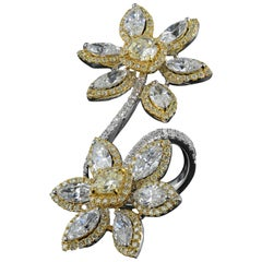 18 Karat White Marquise and Cushion Diamond Double Flower Ring 8.33 Carat Ring