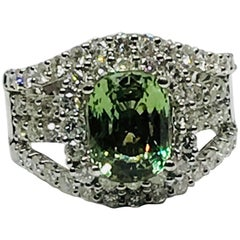 Natural 3.07 Carat Alexandrite and Diamond Ring