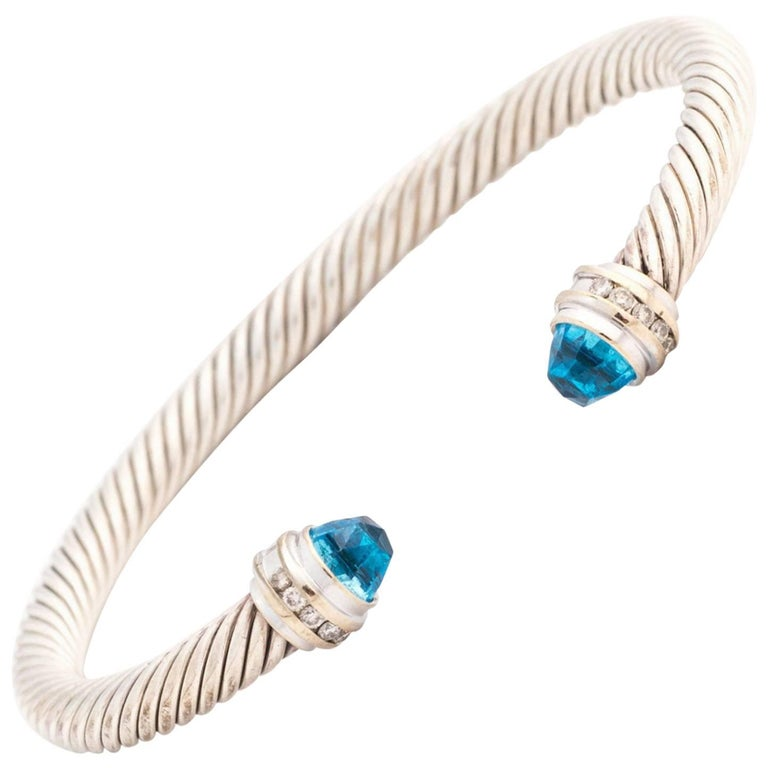 David Yurman Cable Classic Blue Topaz Diamond Bracelet in Sterling Silver