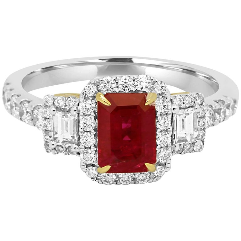 Ruby Diamond Three-Stone Halo Two-Color Gold Ring
