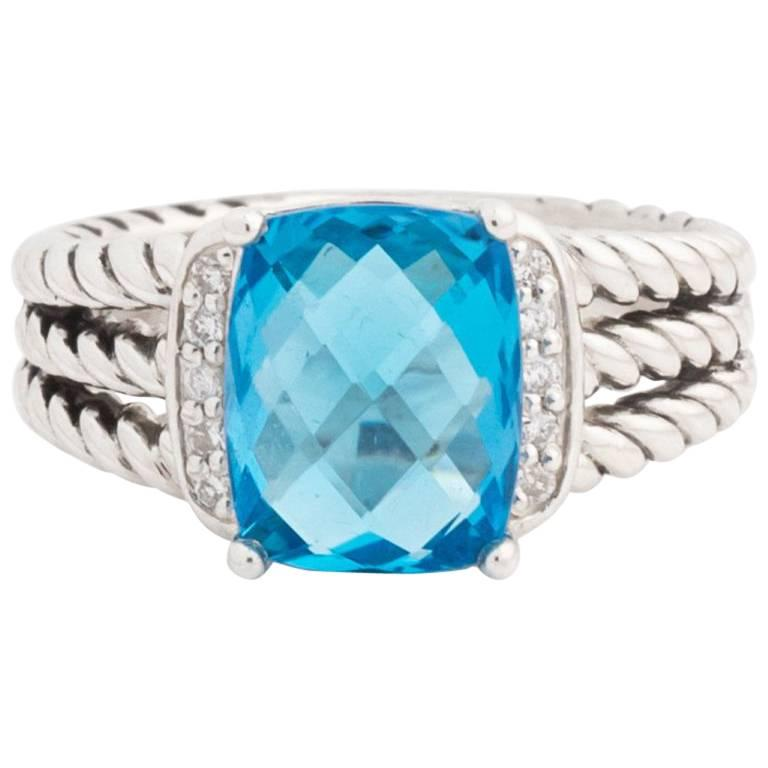 d5ecdc2f8e88 David Yurman Blue Topaz and Diamonds Sterling Silver Petite Wheaton Ring  For Sale