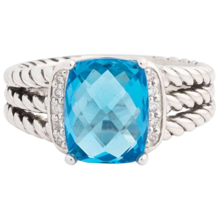 David Yurman Blue Topaz and Diamonds Sterling Silver Petite Wheaton Ring