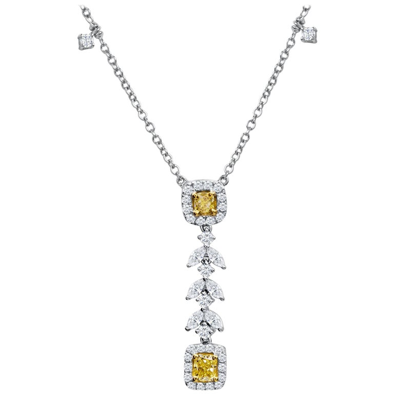 Natural Fancy Yellow Diamond Drop Necklace