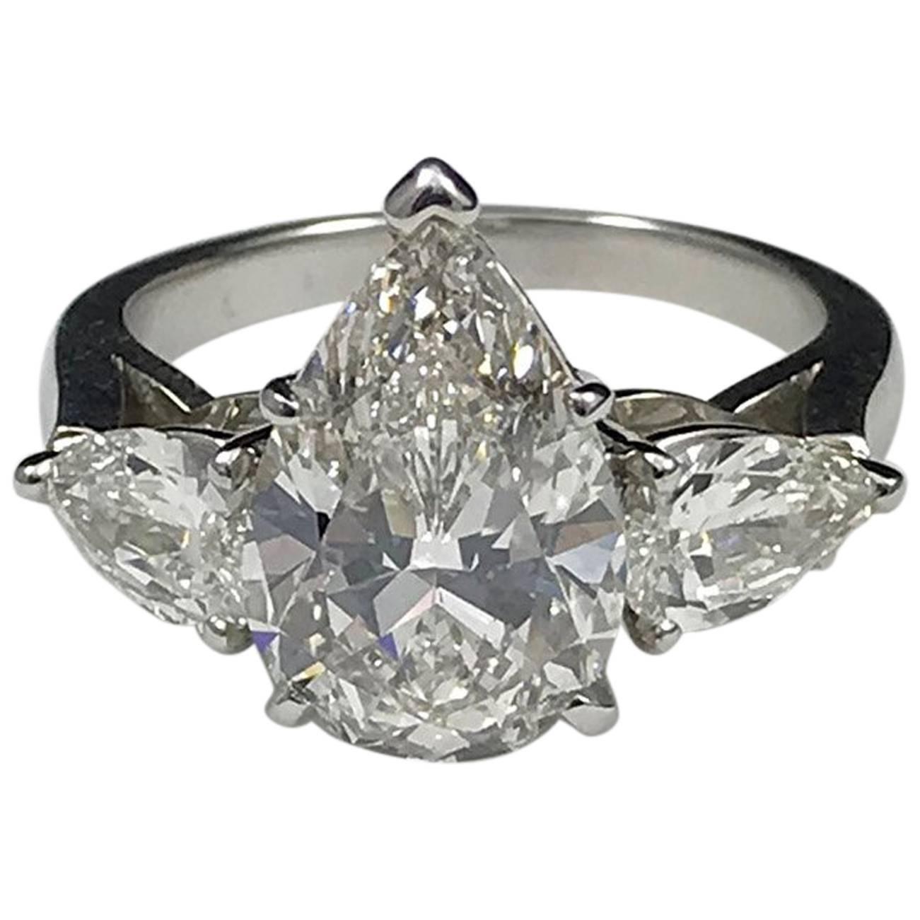 GIA Certified 4.03 Carat G VS1 J. Birnbach Pear Shaped Diamond Ring