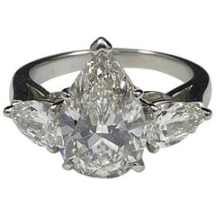 GIA Certified 4.03 Carat G VS1 J. Birnbach Pear Shaped Diamond Ring