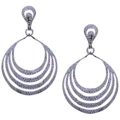 Four Row Diamond Chandelier Earrings Set in 18 Karat White Gold with 9.22 Carat