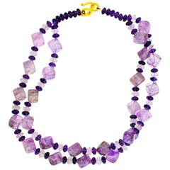 Glittering Amethysts and Rose of France Necklace with Gold-Plated Clasp