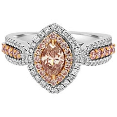 Natural Pink Diamond Double Halo Two-Color Gold Bridal Fashion Ring