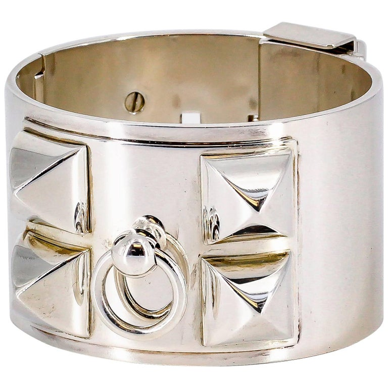 Hermes Collier de Chien Sterling Silver Large Studded Bracelet For Sale