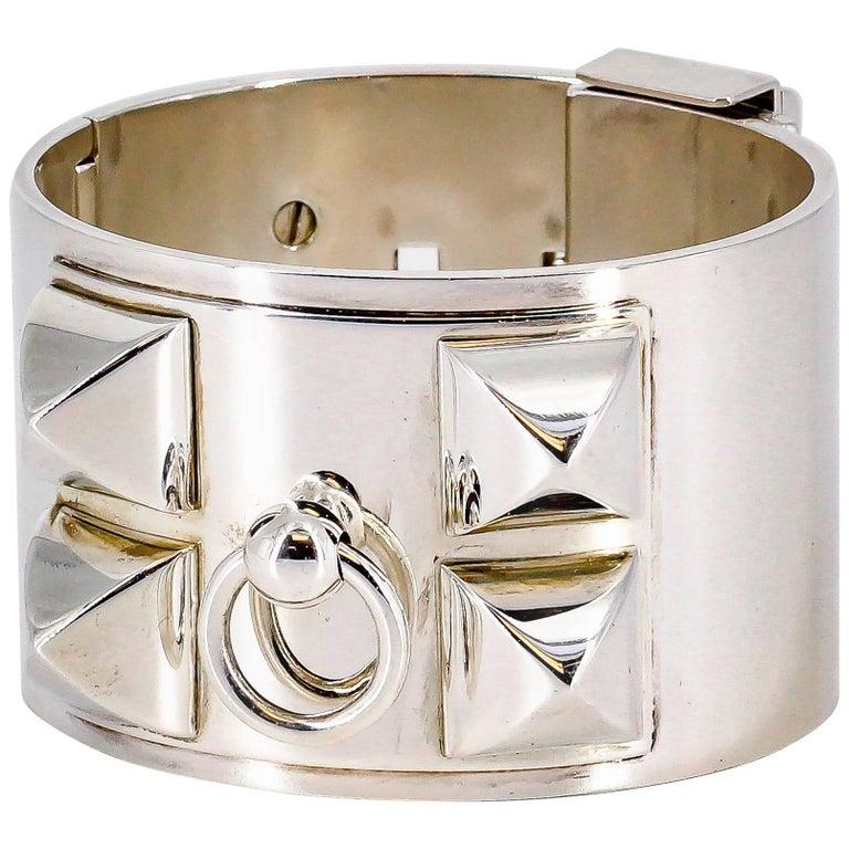 Hermes Collier de Chien Sterling Silver Large Studded Bracelet