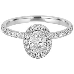 GIA Certified Oval Diamond Halo Gold Platinum Bridal Ring