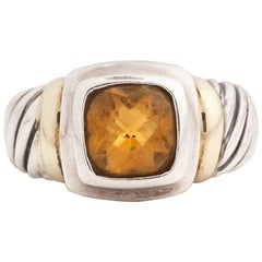 David Yurman Noblesse Citrine Petite Ring with Sterling Silver and 14 Karat Gold
