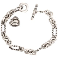 David Yurman Diamond Heart Charm Cable Bracelet in Sterling Silver