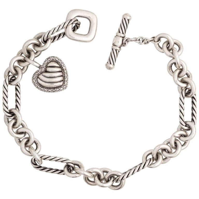 David Yurman Diamond Heart Charm Cable Bracelet In Sterling Silver For