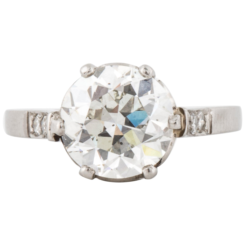 2.66 Carat Old European Cut Diamond Ring GIA Certified