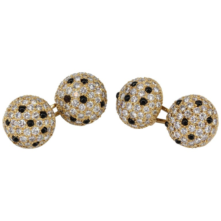 Onyx, Pave Diamond and Yellow Gold Round Dome Cufflinks For Sale