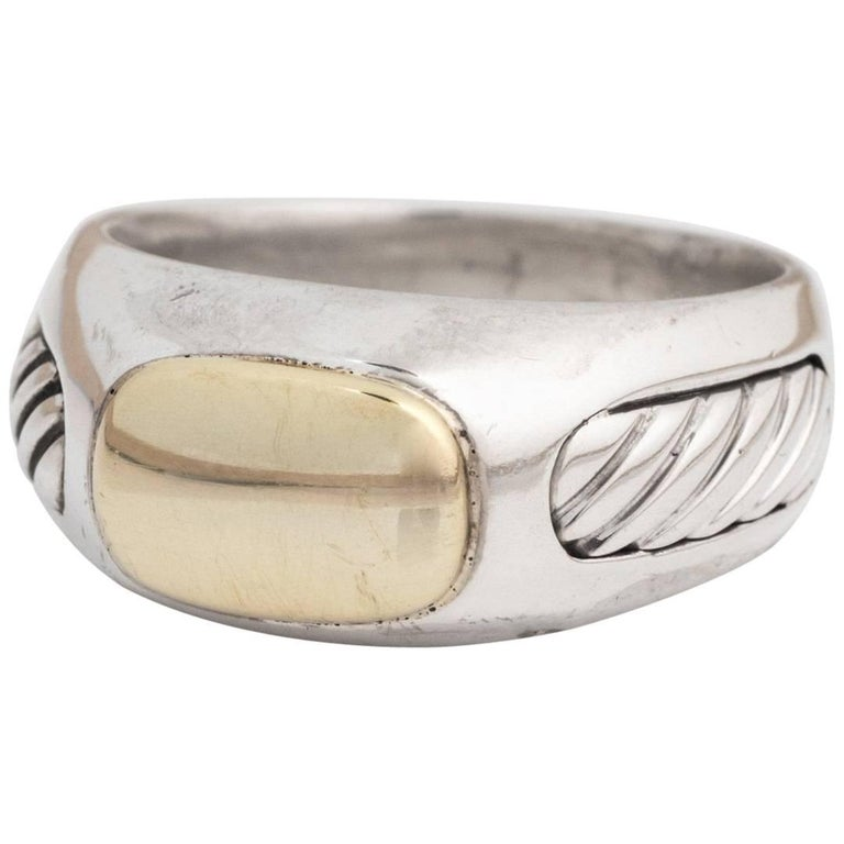 David Yurman Men's Cable Ring in Sterling Silver and 18 Karat Gold