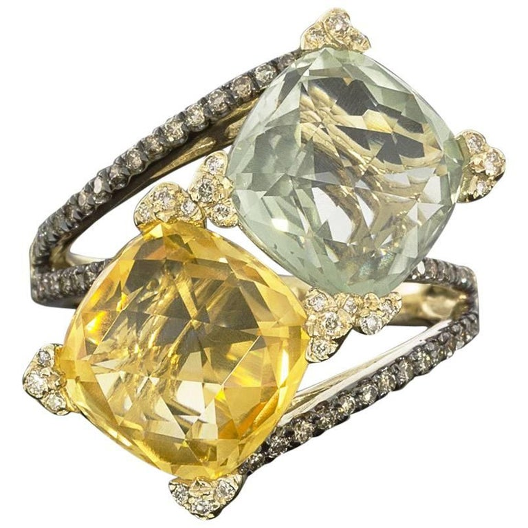 Designer Yellow Gold Royal Citrine Green Amethyst and Diamond Cocktail Ring