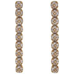 Fred Diamond and Yellow Gold Dangle Earrings