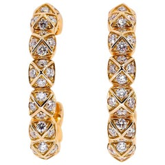Fred Diamond and Yellow Gold Hoop Earrings