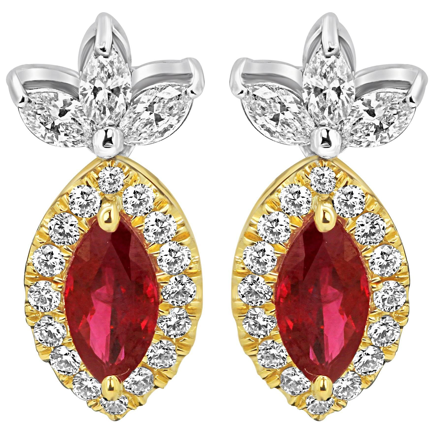 Ruby Diamond Halo Two-Color Gold Drop Earring